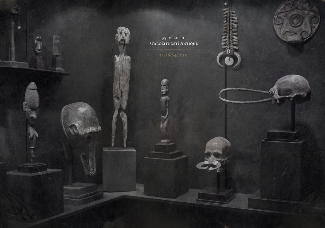 africké masky a sochy v expozici na veletrh Antique 35