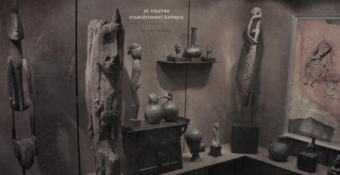 africké masky a sochy v expozici na veletrh Antique 36