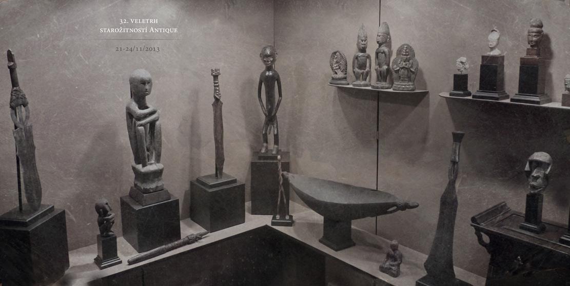 africké masky a sochy v expozici na veletrh Antique 32